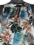 Dames mouwloze top met tropical print - wit / blauw_