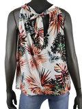 Dames mouwloze top met tropical print - wit / oranje_