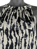 Dames mouwloze top met print - wit / zwart_