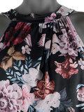 Dames mouwloze top met bloemen print - zwart / roze_