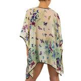 Dames zomer poncho / tuniek met vlinders - groen / paars_
