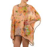 Dames zomer poncho / tuniek met vlinders - oranje / zalm_
