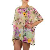 Dames zomer poncho / tuniek met bloemen - groen / paars_