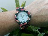 Geneva dameshorloge met kunststof band - bloemen / paars_
