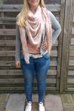 Dames driehoek sjaal / poncho met sterren - grijs_