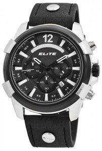 Elite Chronograph XXL herenhorloge met lederen band - zwart / zilver