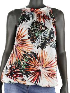 Dames mouwloze top met tropical print - wit / oranje