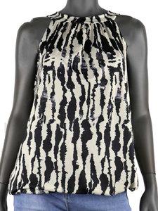 Dames mouwloze top met print - wit / zwart