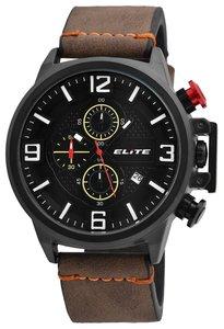 Elite Chronograph XXL herenhorloge met lederen band - bruin / zwart