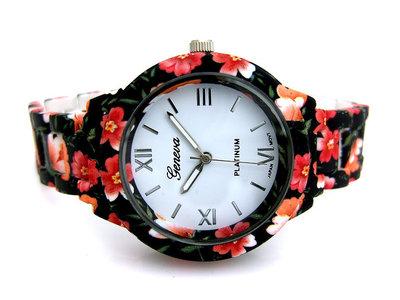 Geneva dameshorloge met bloemen - zwart