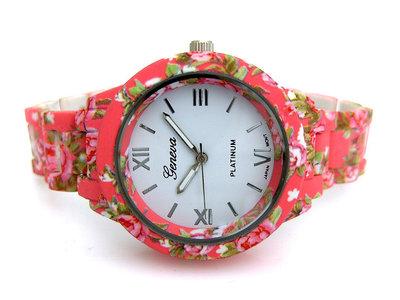Geneva dameshorloge met bloemen - koraal / roze