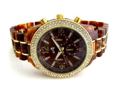 A-Watch dameshorloge met kunststof band - bruin / goud
