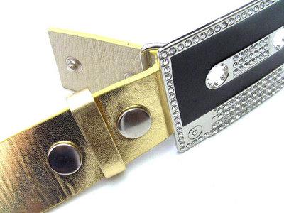 Buckle-riem goud - imitatieleder
