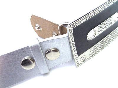 Buckle-riem zilver - imitatieleder
