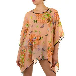 Dames zomer poncho / tuniek met vlinders - oranje / zalm