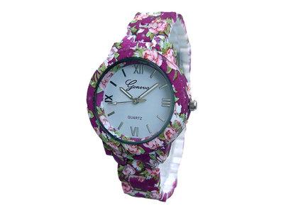Geneva dameshorloge met kunststof band - bloemen / paars