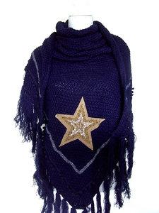 Dames poncho / omslagdoek met ster - donkerblauw