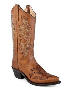 Dames western laarzen / cowboy boots echt leder - pecan chocolate